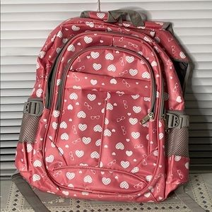 Pink Backpack with Hearts and Glasses EUC